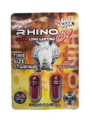 Rhino 69 Fire 500K Male Enhancement Pill (2 Pills)