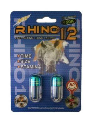 Rhino 12 150K Platinum Male Enhancement (2 Pills)