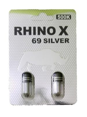 Rhino X 69 Silver 500K Male Enhancement (2 Pills)